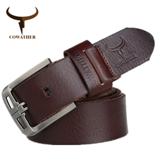 COWATHER 2017 Top Cow genuine leather belts for men alloy buckle fashion style FULL GRAIN male belt free shipping(China)