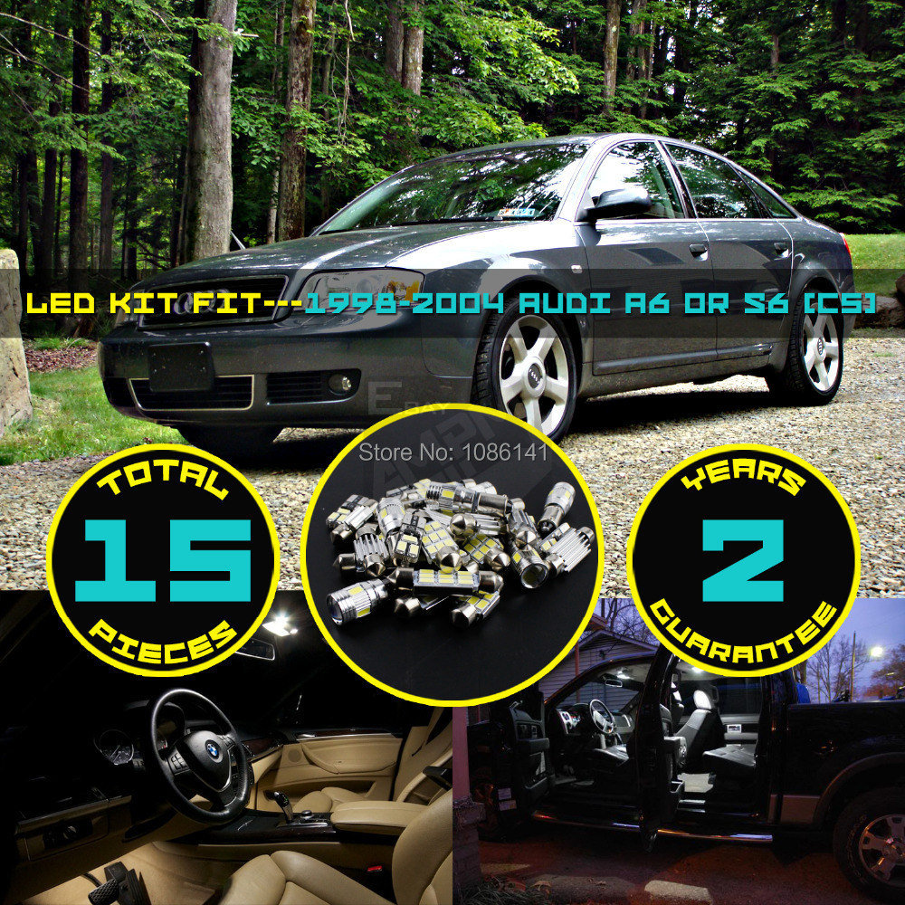 15x 5630 5730 LED Canbus Roof Dome Map License plate Light Interior Package Kit Fit for A6 or S6 (C5) 1998-2004 Bright White #63<br><br>Aliexpress