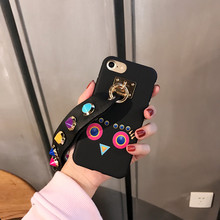 DIY Wristband Big Rivet Owl Case Cover For Apple iPhone 7 7 Plus Case Silicone 7 Series Cute Bird Case For Phone