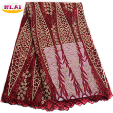 2017 african cord lace High quality french lace fabric with plenty stones.Wine African lace fabric for nigerian Wedding XY413B