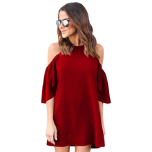 Buy Summer Dresses Casual Cold Shoulder Short Sleeve Straight Dresses Women Clothing LJ9349M for $7.53 in AliExpress store