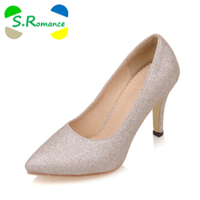 S.Romance Plus Size 34-43 Women Pumps Fashion Elegant Pointed Toe Spike Heel Office Lady Woman Shoes Gold Silver Purple SH430(China)