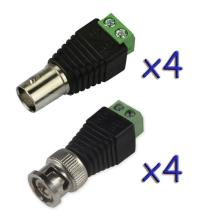 4 Pairs Coax CAT5 To BNC Male&Female Jack Video Balun Connector Adapter for 4CH System