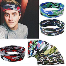 Unisex Headband Women Men Fashion Sweatband Elastic Camouflage Headwear Stretch Hair Band Turban Fitness Exercise Headdress Jun7(China)