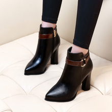 2017 Women Sexy Black Motorcycle Boots High Heels Buckle Ankle Boots Autumn Pointed Toe Fashion Square Heel Shoes CH-A0007(China)