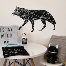 Geometric Wolf Wall Sticker Home Decor Living Room Abstract Pure Wall Decal Bedroom Removable Vinyl Art Stickers Animal S100(China)