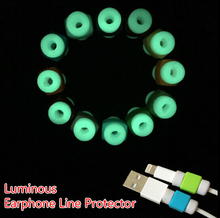 Free Ship 100pcs Luminous Light Up Charging Data Line Data Cable Protection Sets Earphone Data Line Protector For iphone