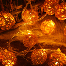 connectable 5m 20leds rattan Ball led string lights fairy christmas lights outdoor indoor wedding garden pendant garland light(China)
