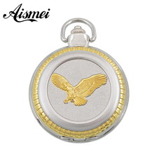 Dial:53mm Free Shopping Pocket watch wholesale fashion High Quality retro silver and gold alloy eagle pocket watch gift watch(China)
