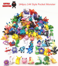 144pcs  Japanese Pocket Monster  figures pokeball  pikachu charizard figurine figuras doll lot for kids party supply