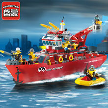 Enlighten Functional Fire Rescue Boat 909 DIY Model Active Building Block Assemble Construction Brick Kid Toys Gift Collection(China)