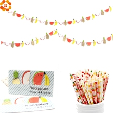 Colorful Summer Party Fruits Garland Banners Pinapple&Watermelon Fruit Paper Straws Kids Birthday/Pool Hawaiian Party Supplies
