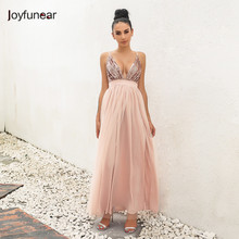 new pink color stitching perspective gauze loose sequin deep V strap women mesh dress vestidos(China)