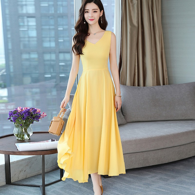 Boho Holiday Dresses Women Chiffon Sleeveless Yellow Summer Bow Backless Maxi Dresses Long Gown Solid Sexy Robe Femme Ete 2018