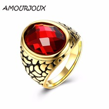 AMOURJOUX High Quality Large Round Red Stone Gold Color Spot Pattern 316L Stainless Steel Rings For Men Finger Mens Rings R111