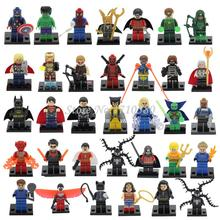 DC Marvel Super Heroes Figures Single Sale Deadpool Bataman Hulk Wonder Woman Thor Avengers Building Block Toys For Children