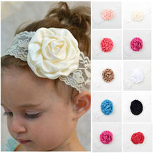 1 Piece Kids Girl Lace Rose Flower Headband Wide Band Hairband Soft Elastic Hair Band Headwear Accessories