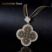Exquisite Hollow four leaf Clover Pendant Necklace Silver/Gold Color Crystal Necklace Statement Jewelry Gift for Women collares(China)