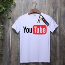 USAprint Print T Shirts Men Youtube T-shirt Unique Graphic Clothing Top Tees Male Cotton Boy Camisetas Summer Top Quality White