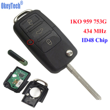 OkeyTech 3 Buttons 434MHz Car Remote Control Completed Flip Key Fob Blank Blade With ID48 Chip For VW /SKODA SEAT 1KO 959 753 G