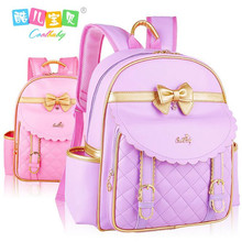 Hot buy students nylon + pu leather schoolbag girls backpack children is student backpack bag High quality travelling bag girl(China)