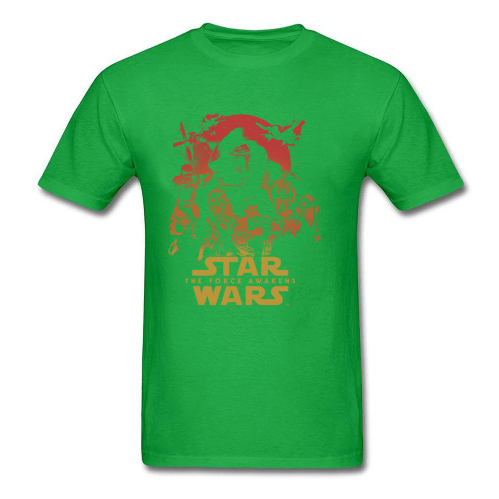 Force Awakens Poster Thanksgiving Day Pure Coon Crew Neck Tops Shirts Fashionable Tops Shirt New Coming T-shirts Force Awakens Poster green