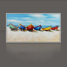 Knife painting oil painting modern the beach and the boat Home decoration on canvas abstract painting art paintings SS-003