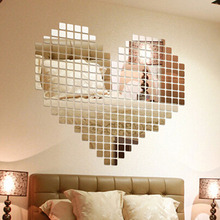 Hot Sale 100 Pieces/set Plastic DIY Self-adhesive Tile 3D Mirror Wall Stickers Decal Mosaic Effect Room Decorations