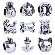 1pc Free Shipping Silver Bead Charm European Stroller Dog Bones Cat Horse's hoof Bead Fit Pandora Bracelets & Necklace(China)