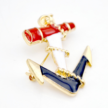 Fashion Sea Wind Gold Tone Enamel Anchor Brooches Pin Scarf Dress Hats Buckles Corsages Bijoux