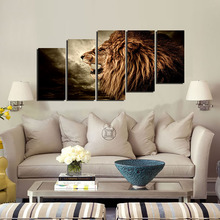 5D Brown Tiger DIY Diamond Embroidery Painting Mosaic Full Round Diamond Painting Cross Stitch Kit Home Decor Painting 5Pcs