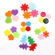 2017 New 100pcs Mixed Color Smile face&snowflake&Tree&Heart&Flower Felt Fabric Patch DIY Cloth Appliques/Craft Wedding Patches