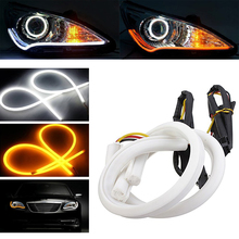 2x 60cm Switchback LED Strip Xenon White+Yellow Headlight DRL Daytime Running Lights for Headlight Retrofit