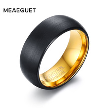 Meaeguet Gold/Black Color Tungsten Men Ring Wedding Bands 8MM Wide Black Tungsten Carbide Rings For Male(China)