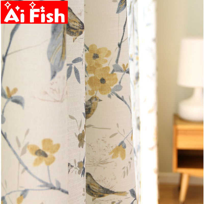 American Rural Cotton Linen Blackout Curtain For Living Room Bird Print Window Screen Bedroom Curtain Fabric Drapes  MY028#40