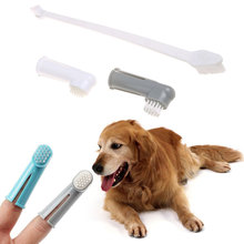 3Pcs/set Pet Dog Cat Oral Clean Finger Toothbrush + Double Plastic Head Brush Puppy Dental Tooth Health Care Cleaning Supplies(China)
