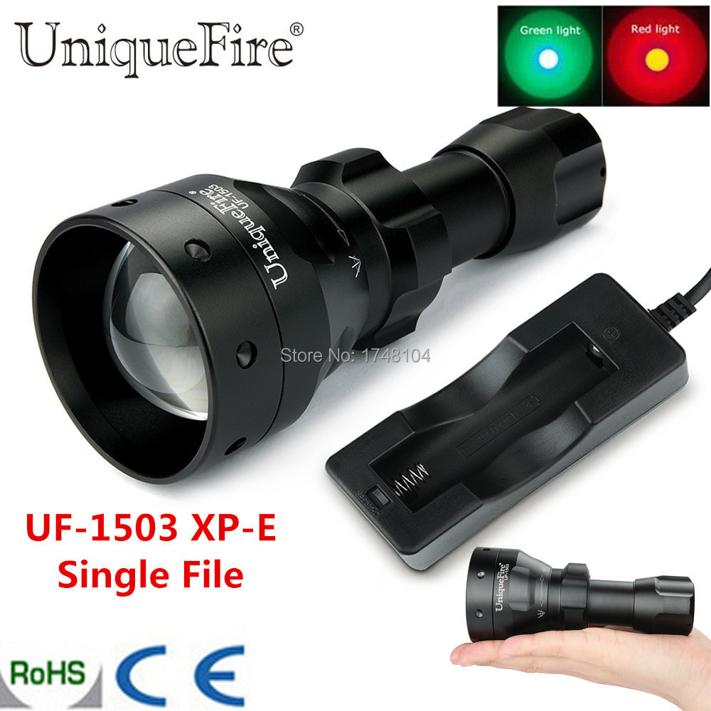 Uniquefire Mini Flashlight Single File 1503 XP-E LED Green / Red / White Light Zoomable Lamp 50mm Aspherical Lens Torch+Charger<br>