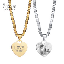 Name Plate Engrave Picture Custom Personalized Necklace Heart 316L Stainless Steel Beads Chian Necklace Women Gift