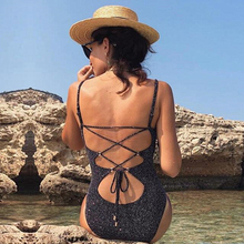 Buy Halter Bandage Swimsuit One Piece Swimwear Women Solid Monokini Push Swimming Suit Sexy Padded Bathing Suit Female Bodysuit