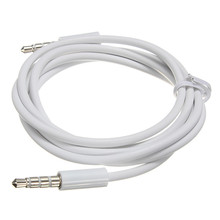 Durable White 4 Pole 3.5mm Audio Cable Male To Male Record Car Aux Audio Cord Headphone Cable For Headset MP3 MP4 DVD