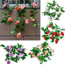 240 cm High Quality Fake Silk Roses Ivy Vine Artificial Flowers With Green Leaves For Home Wedding Decoration Hanging Garland(China)