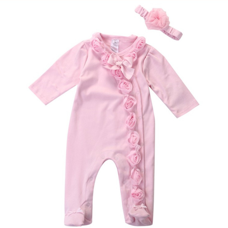 Princess Style Newborn Baby Girl Clothes Bow/Flowers Romper Clothing Set Jumpsuit &amp; Headband 2 PC<br><br>Aliexpress
