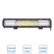 15 Inch LED Light Bar 216W Triple Row 12V 24V Offroad Driving Work Lamp Car SUV RZR ATV 4X4 Wagon Pickup Truck Trailer Light(China)