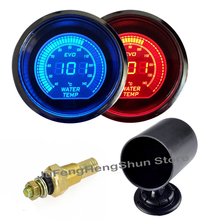 "2"" 52mm Water Temperature Gauge 12V Car Blue Red LED Light Tint Lens Auto Digital Temp Meter + Gauge Pod Mount Holder Universal(China)"