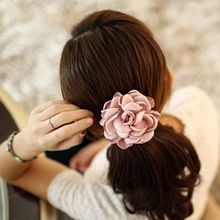 1pc Beautiful Fabric Flower Hair  Rose Flower Scrunchie Ponytail  Hairband Hair Bands Rope Hair Clips Women Headwear