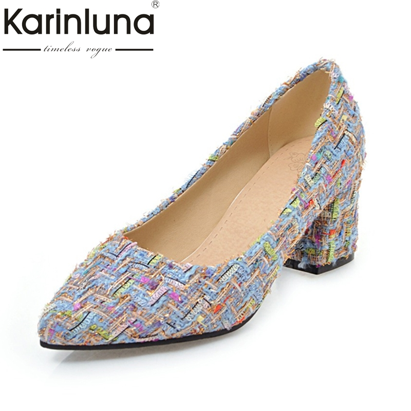 KARINLUNA 2018 High Quality Big Size 32-46 Fashion Women Shoes Slip On Comfortable Spring Autumn Pointed Toe Shoes Woman Pumps<br>