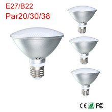 10pcs/lot B22/E27 9W/12W/15W PAR20 PAR30 PAR38 Waterproof IP65 LED Spot Light Bulb Lamp Indoor Lighting Dimmable AC85-265V