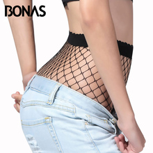 BONAS Black Big Fishnet Tights Women Summer Fashion Solid Color Pantyhose Female High Elasticity Hollow Mesh Tights Spandex(China)
