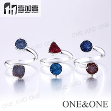 wholesale Two Natural crystal texture Druzy Ring Dyed Colorsdruzy Rings(China)