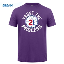 GILDAN Fashion Logo Printing T Shirts Black Embiid Philadelphia Trust The Process T-shirt(China)